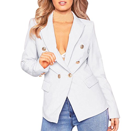 Longra Damen Herbst Frühling Jacke Double breasted Gold Knopf Front Military Style Coole Blazer Jacke Kurzjacke Mantel Coat leichte steppjacke für damen (S, White) (Damen-knopf-front-jacke)