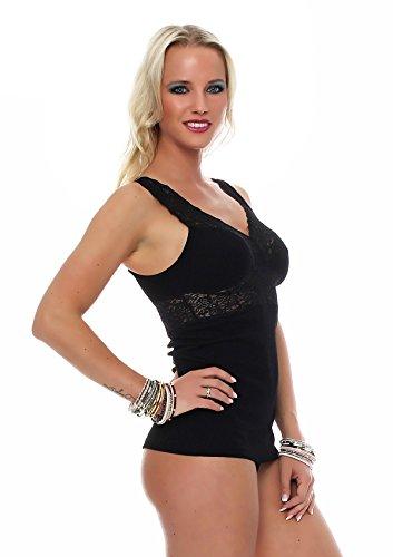 Damen Dessous-Top mit Spitze, BH-Hemd von Celesté, 100 % Baumwolle, Unterhemd in Schwarz oder Haut, Größen 40 - 50 Schwarz