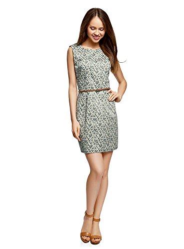 oodji Ultra Damen Tailliertes Basic-Kleid mit Gürtel, Grün, DE 36 / EU 38 / S (Besonderen Anlass Kleid Muster)
