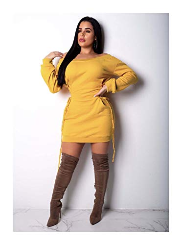 Eyelet Lace Up Mens Dress (Women Off Shoulder Cotton Bandage Bodycon Casual Club Party Solid Mini Dress Yellow M)