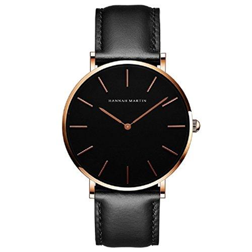 Uomo orologi, l'ananas 2018 uomini stile minimalista impermeabile anolog attività commerciale quarzo pelle sintetica dolce orologi da polso wrist watches con confezione regalo (nero+oro)