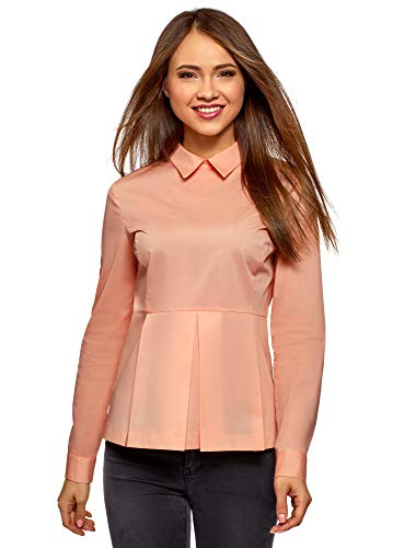 Oodji ultra donna camicetta in cotone con peplo, rosa, it 48 / eu 44 / xl