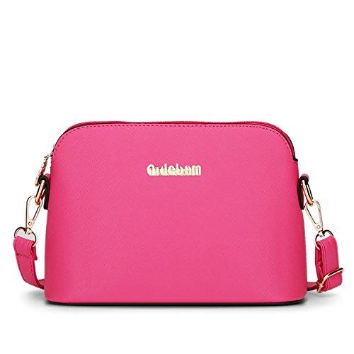 LDMB Damen-handtaschen Frauen PU-lederner Schulter-Kurier-Beutel-feste Farben-Hochschulwind Crossbody Beutel-Shell-Beutel rose red