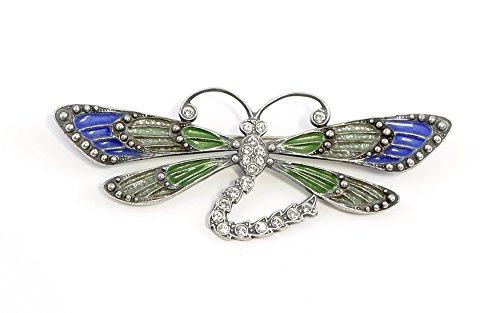 925er Silber emaillierte Jugendstil-Brosche Libelle mit Swarovskisteinen