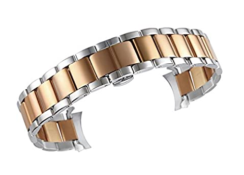 20mm Premium Two Tone Watch Strap Wristband in Silver and Rose Gold Solid Stainless Steel Oyster Style