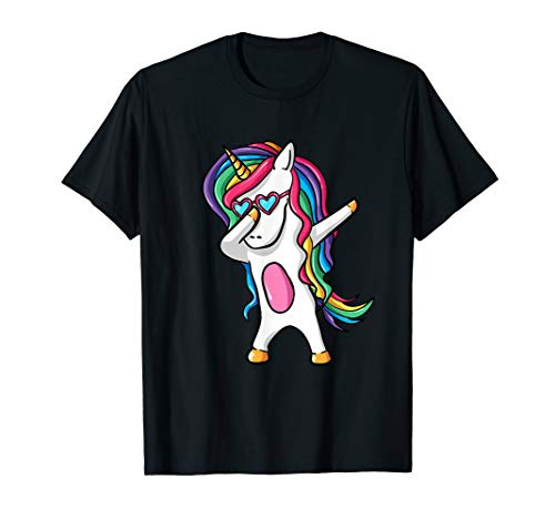 Süßes Dab tanzendes Einhorn T-Shirt mit Sonnenbrille