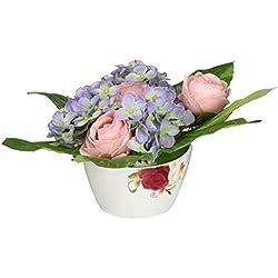 Floral Elegance F065RHL - Arreglo de rosas y hortensias artificiales de 13 cm, color rosa y azul