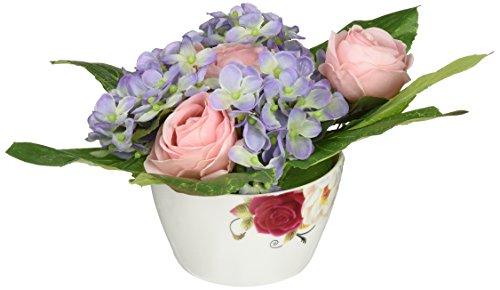Floral Elegance F065RHL - Arreglo de rosas y hortensias artificiales de 13...
