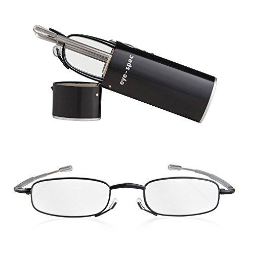 Faltbare Lesebrille, lässt sich zusammenklappen und im mitgelieferten mitgelieferten Hartschalen-Taschenetui in Schwarz transportieren. Ultraleicht und in 9 Sehstärken verfügbar | eye-spy Qualitäts-Faltbrillen von eye-spec