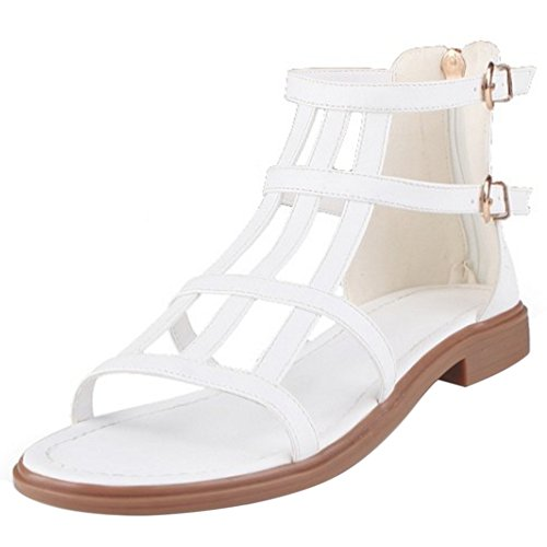 COOLCEPT Damen Mode Abend Sandalen Flach Cut Out Open Toe Schuhe Zipper Gr White
