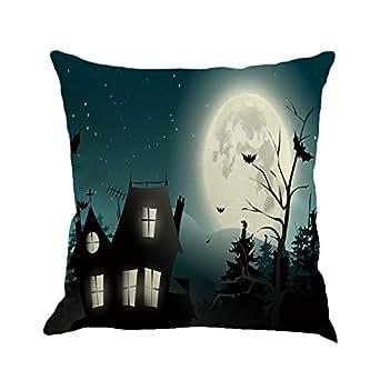 Cuscino di Halloween, Longra Streghe di Halloween e maghi Cuscino di stampa zucca (Multicolore_A)