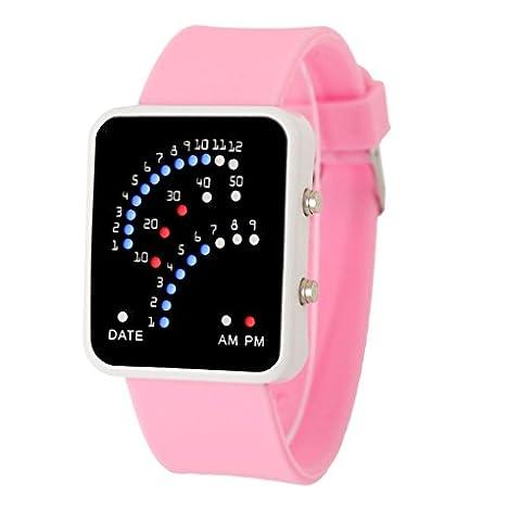 ihee Frauen Herren futuristischen Stil Rot und Blau LED Digital Armbanduhr Wasserdicht Sport Armbanduhr M