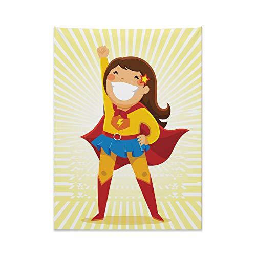 Girl Kostüm Mime - ABAKUHAUS Superheld Wandteppich, Heldin Girl Kostüm aus Weiches Mikrofaser Stoff Kein Verblassen Klare Farben Waschbar, 110 x 150 cm, Mehrfarbig