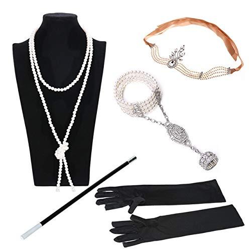 MOUNTIAN 1920S Flapper Mädchen Kleid Halloween Kostüm Handschuhe Tabakstange Halskette Stirnband Top Five ()