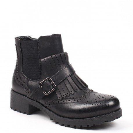 Ideal Shoes - Bottines style chelsea ajourées avec franges et ceinturon Tala Noir