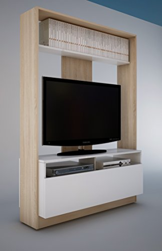 Abitti Mueble de salón o Comedor en Color Roble y Blanco con baldas y Armario Horizontal diseño Moderno 160x113x37 cm