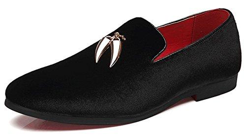 Mocassini da uomo moda scarpe casual comoda tomaia in velluto di grandi dimensioni,black-40eu