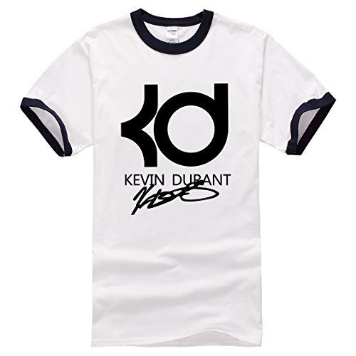 Men's Kevin Durant PrintedShort Sleeve Cotton Casual black white 1