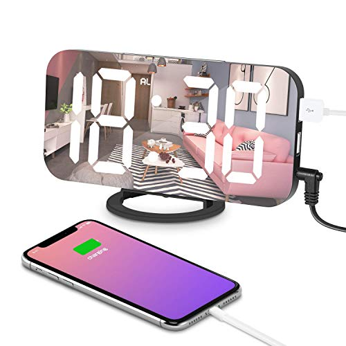 FLY5D Sveglia Digitale LED Funzione di Snooze/Luminosità Regolabile/Superficie a Specchio, 2 Porte di Ricarica USB,Adatto per Camera da Letto, Comodino, scrivania, mensola, Usato Come Regalo