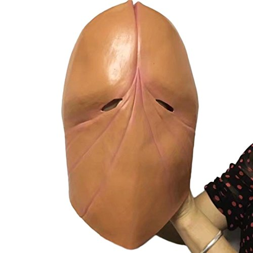VENMO Penis Dick Kopf Latex Maske Streich Party Kostüm Henne Hirsch Halloween-Witz-Geschenk (Brown)