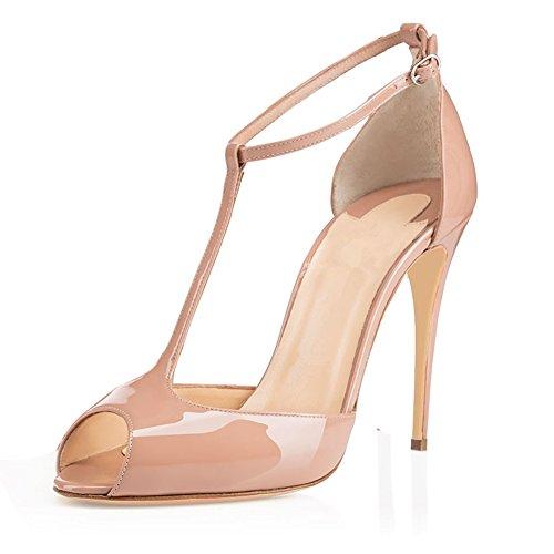 EDEFS Damen T-Spangen Pumps Stiletto Heels Knöchelriemchen Schuhe mit T-Strap Beige