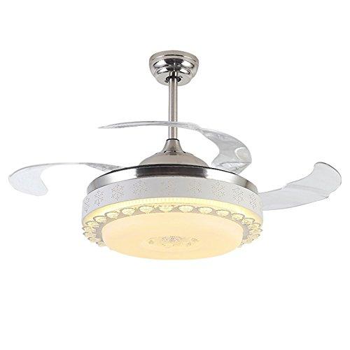 %lampada ventilatore a soffitto a cristallo di cristallo di stealth del led, lampada del ventilatore del silenziatore del ristorante soggiorno camera da letto con il ventilatore registrabile chiaro de