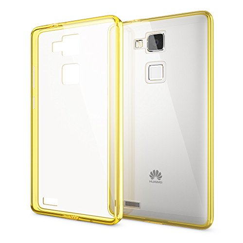 NALIA Handyhülle kompatibel mit Huawei Ascend Mate 7, Durchsichtiges Slim Silikon Case Transparente Hülle, Rückseite und Bumper, Crystal Schutzhülle Cover Etui Dünn Handy-Tasche - Transparent/Gelb