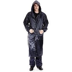 Abrigo Impermeable Para Hombre Largo Con Capucha Color Azul Marino Tamaño L