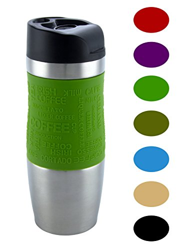 Vakuumisoliert Hervorragende Qualität Thermobecher Travel mug Für Kaffee oder Tee Rostfreier Stahl Thermosflasche Doppelwandig Ein Hand öffnen (400 ml, Grün) (Vertikale Stahl-flüssigkeit)
