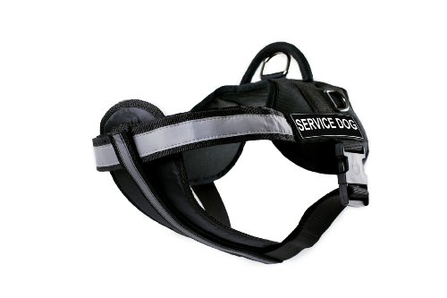 DT Works Harness with Padded Reflective Chest Straps, Service Dog, Black, Medium - Fits Girth Size: 71cm to 97cm