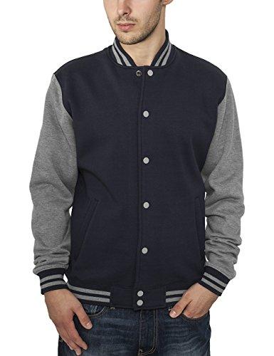Urban Classics Herren Collegejacke Jacke 2 - tone College Sweatjacket, Gr. Large, Mehrfarbig (nvy/gry 165)