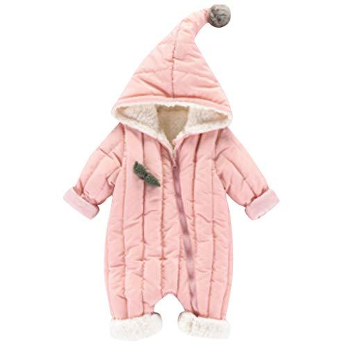 Livoral Baby Winterjacke Neugeborenes Baby Baby Boy Floral Rüschen Bär Jumpsuit Jumpsuit Jumpsuit Set(Rosa,12-18 Monate)