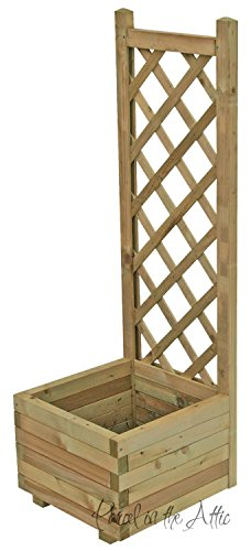 Wooden Garden Flower Planter With Trellis for Climbing Plant Support (Single)