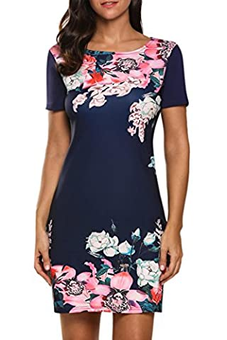 Meaneor Women Short Sleeve Floral Print Slim Fit Casual