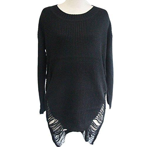 Damen Langarmhemd Pullikleider A-linie Röcke-kleider Strickkleider Jerseykleider Loose Langarm Kleid Quaste Herbst Modisch Schwarz