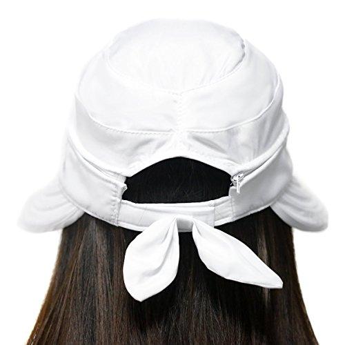 TININNA Femmes Soleil D'été Multi-usages Pliage Chapeau de Soleil Vide Chapeau Bouchon UV Plage Eté Pliable Chapeau Melon Paille Soleil Femme Anti-UV Blanc