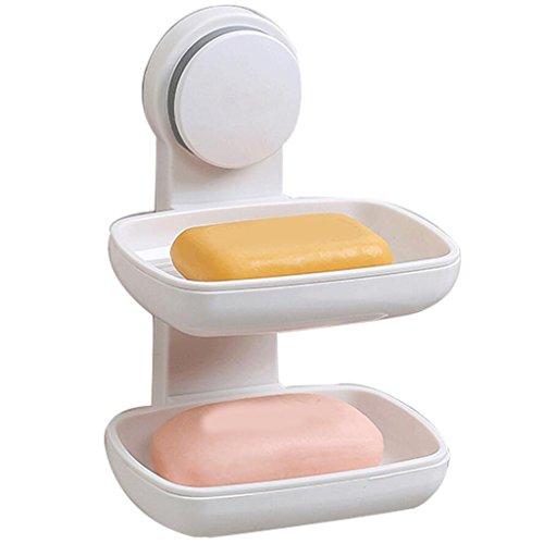 Tapis de bain Xuan - Worth Having Porte-Savon en Plastique Blanc Double Porte-Savon