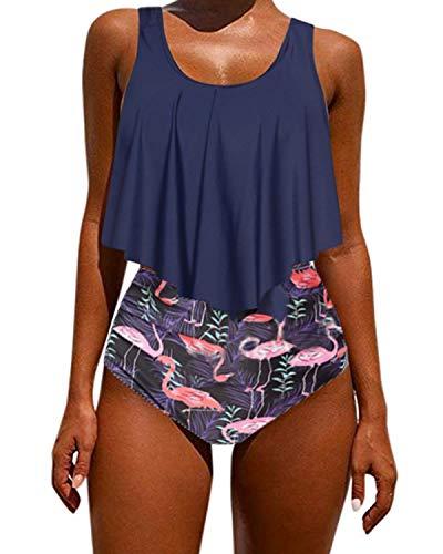 Kidsform Maillot de Bain Femme 2 Pièces Ensemble Fleurie Chic Tankini Bretelles Floral Cache Ventre Sexy Bikini Grande Taille Fluide Vêtement de Natation Pas Cher A-Marine L