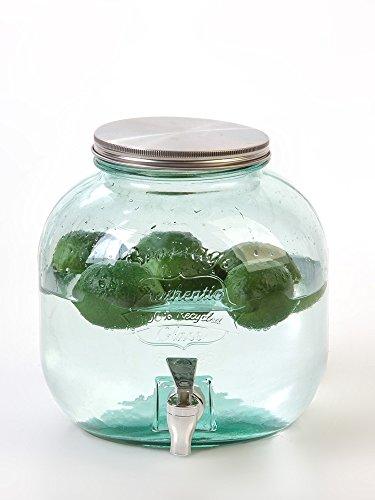 Style-Dispenser di bevande in vetro riciclato, rubinetto e coperchio di metallo, con filettatura, colore: verde trasparente Moderno 6 l Verde transparente