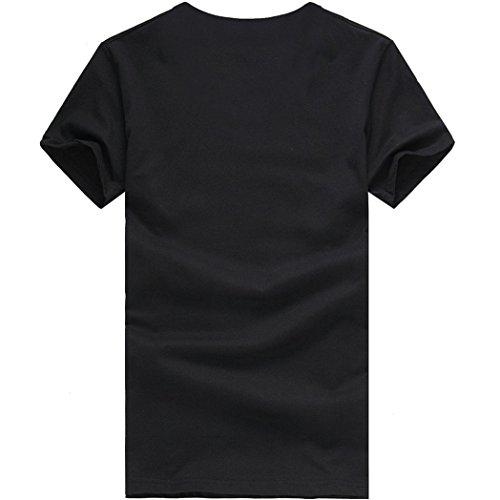 KEERADS Herren Einfarbig Baumwoll T-shirt Schwarz