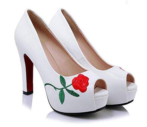 SHINIK Peep Toe Pump Bestickte Wasserdichte Plattform High Heel Shallow Mund Vier Jahreszeiten Sandalen Für Frauen White