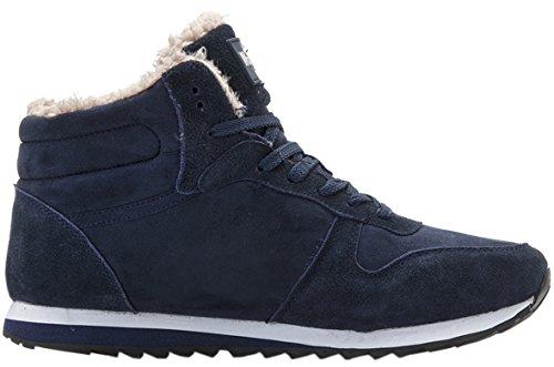 Gaatpot Herren Damen Stiefel Schneestiefel Hohe Sneaker Warm Gefütterte Schnürstiefel Schuhe 36-48 Blau