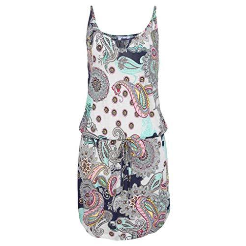 OverDose Boutique Freizeitkleider für Damen, Ärmellos Rundhals Schlüsselloch Drucken Saum Lose Einfarbig Lässig Sommerkleider Strandkleid Minikleid (EU 34/CN S, Weiß) -