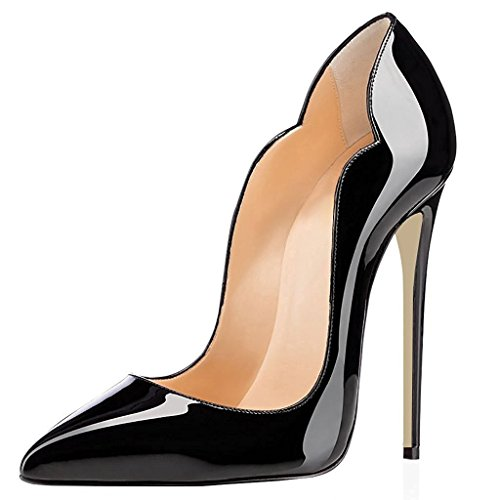 elashe Scarpe Decolte Donna - 12CM Scarpe col Tacco Pointed Toe - Classiche Scarpe col Tacco Nero EU38