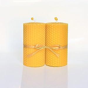 100% Reines Bienenwachskerzen 2 Kerzen Set Größe 10 x 5 cm Ökologische kerzen Natürlichen Honigduft 100% Handarbeit