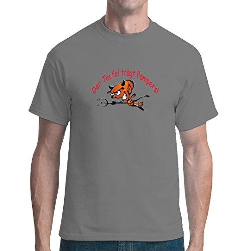 Fun Sprüche unisex T-Shirt - Der Teufel trägt Pampers! by Im-Shirt - Grau XXL