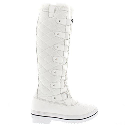 Femmes Neige du Nylon Genou Blanc Boue Canard Fourrure Polar Matelassé Hauteur Bottes d6n8qxd1F