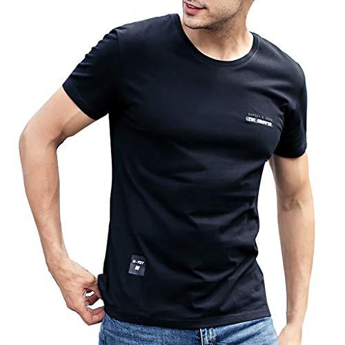 TWISFER Herren Rundhals T-Shirt Kurzarm Brief Druck Casual Tee Sweatshirt Mode Blusen Streetwear Sportlich Sommerkleidung Sommer Tops -