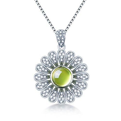cle Kette Sonnenblume Grün Kristall Anhänger 925 Silber Halskette Frauen Schmuck ()
