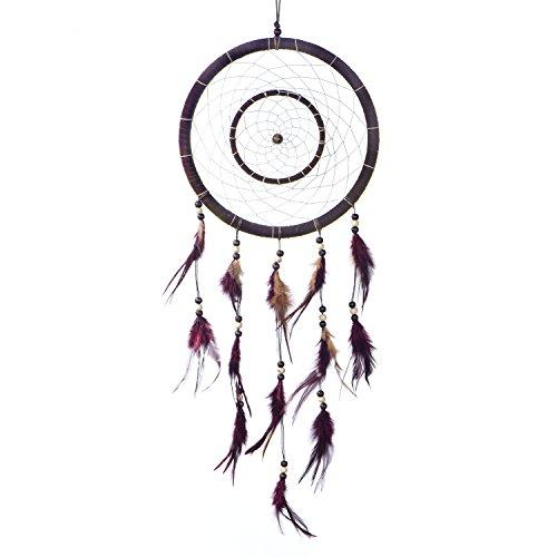 Atrapasueños Dreamcatcher grande para sueños buenos con perlas y plumas naturales Marrón oscuro - Ø 28 cm